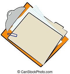 clipboard with full file folder and paper clip - vector