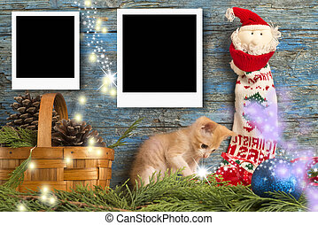 Christmas two instant empty photo frames, funny playful...
