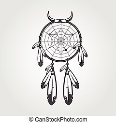 Indian Dream catcher isolated on white background. Vector...