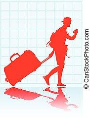 Traveler - Traveler with pulling luggage
