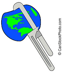 earth being squeezed with a pipe wrench