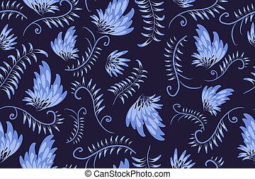 Illustration with floral ornament in blue tones Russian folk...
