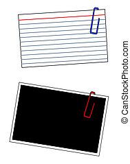 blank index cards and photo frames with paper clips