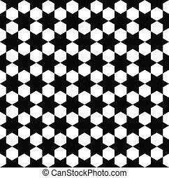 Seamless black white hexagram pattern - Repeat monochrome...