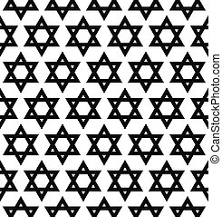 Seamless monochrome hexagram pattern - Repeat monochrome...