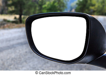 Rearview Mirror - Close up front view of rearview mirror of...