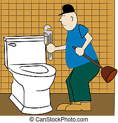 handyman or plumber fixing broken toilet