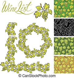 Set of grapes frames and repeated element  for wine labels or menu design, Seamless patterns - hand drawn wine grapes background.