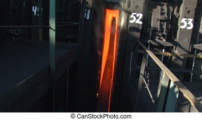 The process of ejecting hot coke from the oven 2 - The...