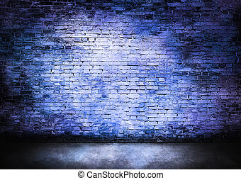 Murky brick wall in blue tones