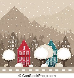 City in mountains - Winter city in mountains. A vector...