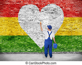 Reggae lover - House painter paints heart symbol on Reggae...