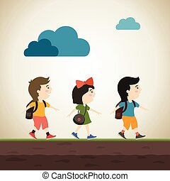 Schoolboys - Children go to school. A vector illustration