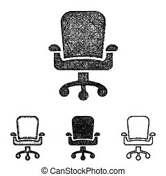 Swivel chair icon set - sketch line art - Swivel chair icon...