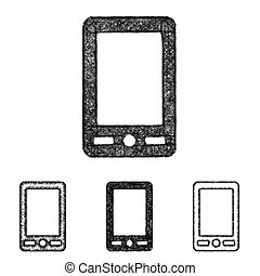 Cellphone icon set - sketch line art