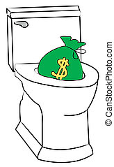 concept of flushing money down the toilet