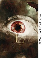 When souls escape - Dark horror photo on a fear splattered...