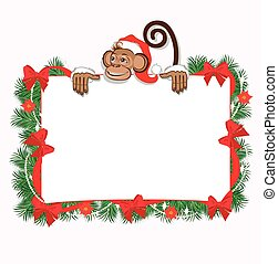 Christmas frame with monkey