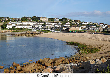 Porthcressa beach and Hugh Town, St Marys Isles of Scilly,...
