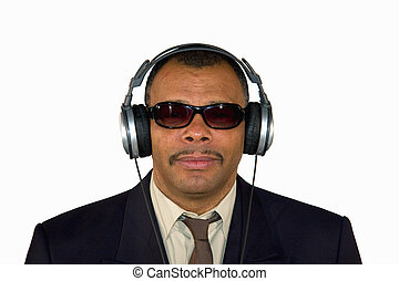 serious looking soulman with headphones - a serious looking...