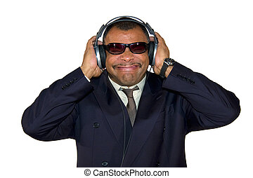 soulman with headphones making faces - a mature...