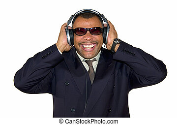 soulman listening to bad sound - a mature Arfrican-American...