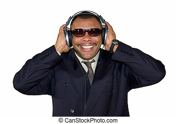 smiling soulman with headphones - a smiling mature...