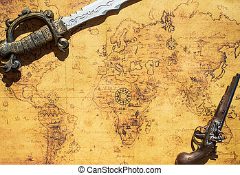 Old treasure map with sword and musket gun.