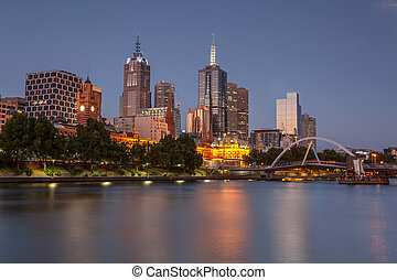 Melbourne from Southbank - The CBD of Melbourne from across...