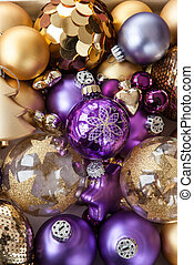 Variety of golden christmas ornaments - Variety of festive...