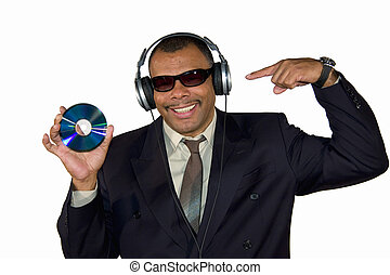 smiling soulman pointing at audio CD - a smiling mature...