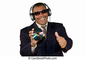 smiling soulman with audio CD posing thumbs up - a smiling...