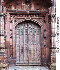 Chester Cathedral Door - Ancient Chester cathedral doorway
