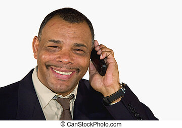 smiling mature businessman with cell phone - a smiling...