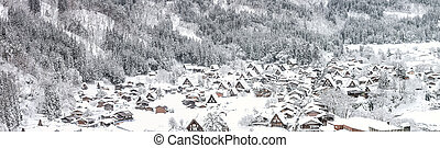 Winter Shirakawago with Snowfall Gifu Chubu Japan