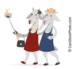 Selfie photo goat girls couple friends portrait illustration...