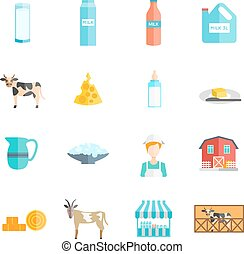 Milk dairy products flat icons set - Bio milk farm...