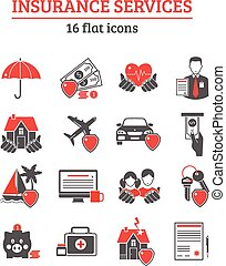Insurance Services Icons Set - Insurance services red black...