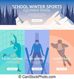 Winter Sport Banner - Winter sport banner set with figure...