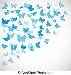 Extracto, mariposa, fondo., Ilustración, de, azul,...