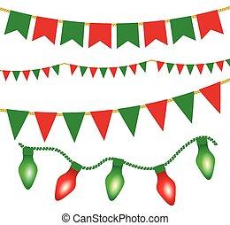 illustration for posters - Christmas lights ans flag...