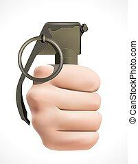 Grenade - human fist - terrorism concept