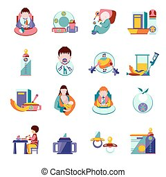 Baby Feeding Icons - Baby feeding and nutrition flat icons...