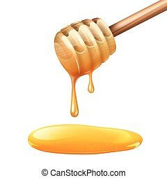 Honey Stick Illustration - Realistic wooden honey stick with...