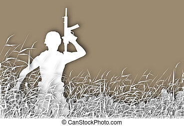 Soldier patrol cutout - Cutout illustration of a soldier on...
