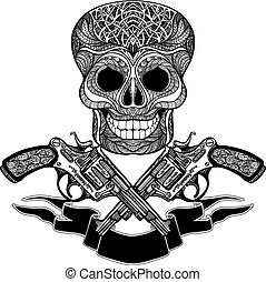 Crossed Guns With Ornaments Ribbon And Skull - Hand drawn...