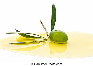 olives bathed in olive oil - collection of olive oil. in...