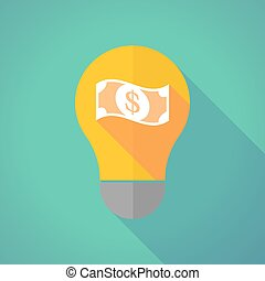 Long shadow vector light bulb with a dollar bank note -...