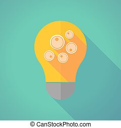 Long shadow vector light bulb with oocytes - Illustration of...