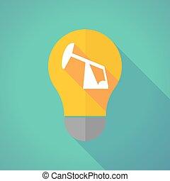 Long shadow vector light bulb with a horsehead pump -...